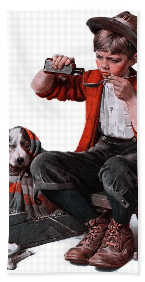 Boy Beach Towel featuring the drawing Sick Puppy by Norman Rockwell