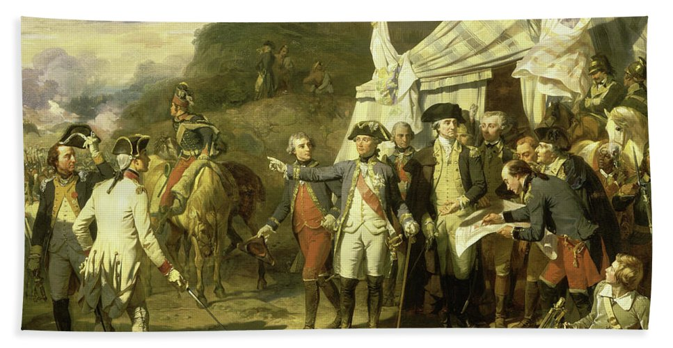 Auguste Couder Beach Towel featuring the painting Siege De Yorktown, 1781 by Auguste Couder