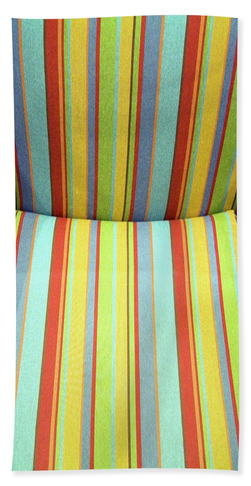 Chair Beach Towel featuring the photograph Sitting On Stripes by Cora Wandel