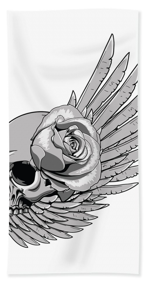 Skull Beach Towel featuring the digital art Skull Wing Rose by Passion Loft