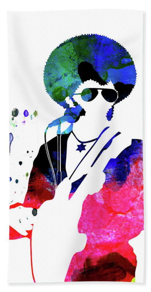 Sly And The Family Stone Beach Towel featuring the mixed media Sly And The Family Stone Watercolor by Naxart Studio