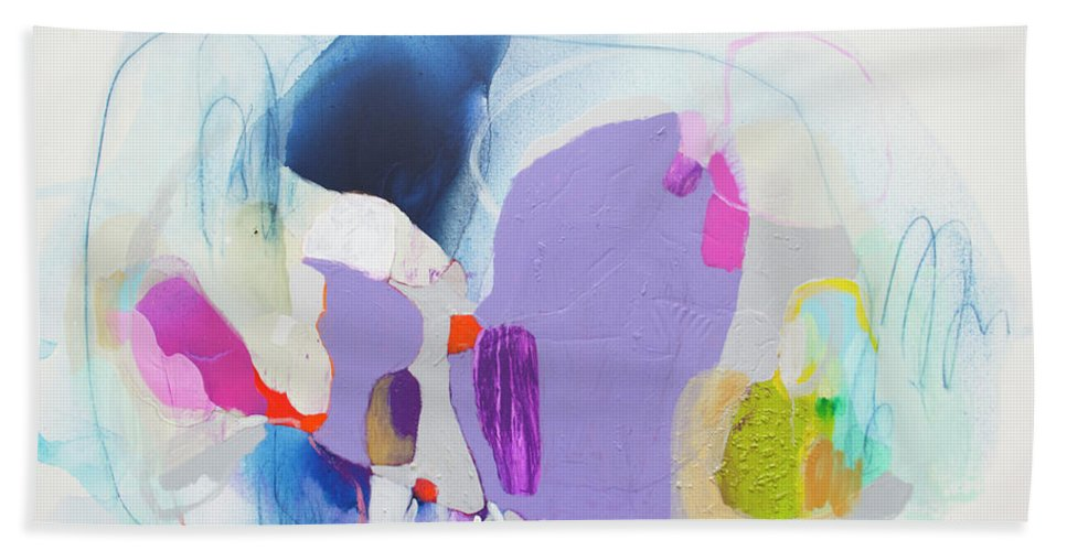 Abstract Beach Towel featuring the painting Sometime In June by Claire Desjardins