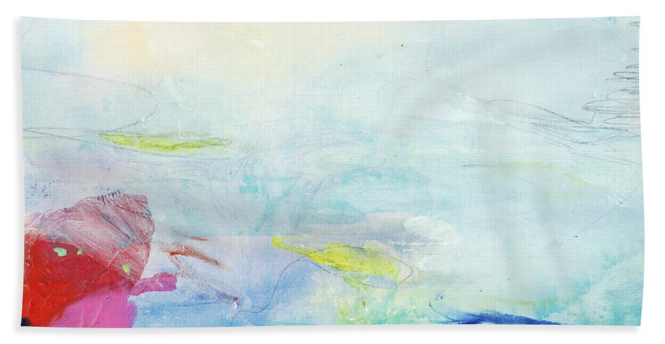 Abstract Beach Towel featuring the painting Somewhere Else by Claire Desjardins