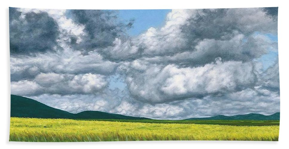 Beach Towel featuring the painting Somewhere In May by Darrel Kanyok