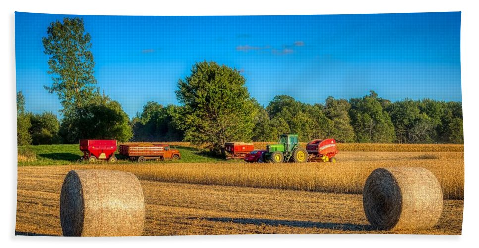 Soybeans Beach Towel featuring the photograph Soybean Harvest by Mountain Dreams