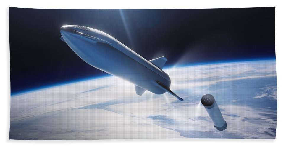 Dont Panic Beach Towel featuring the digital art Spacex Bfr Leaving Earth by Filip Hellman