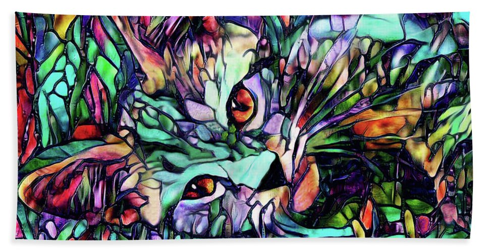 Cat Beach Towel featuring the digital art Sparky The Stained Glass Kitten by Peggy Collins