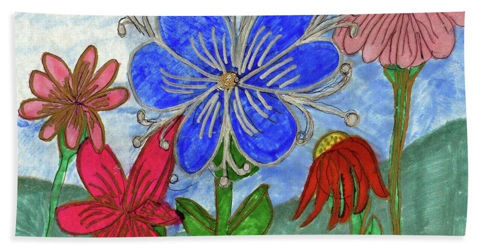 Blue Pink Red Flowers Beach Sheet featuring the mixed media Spring Garden by Elinor Helen Rakowski