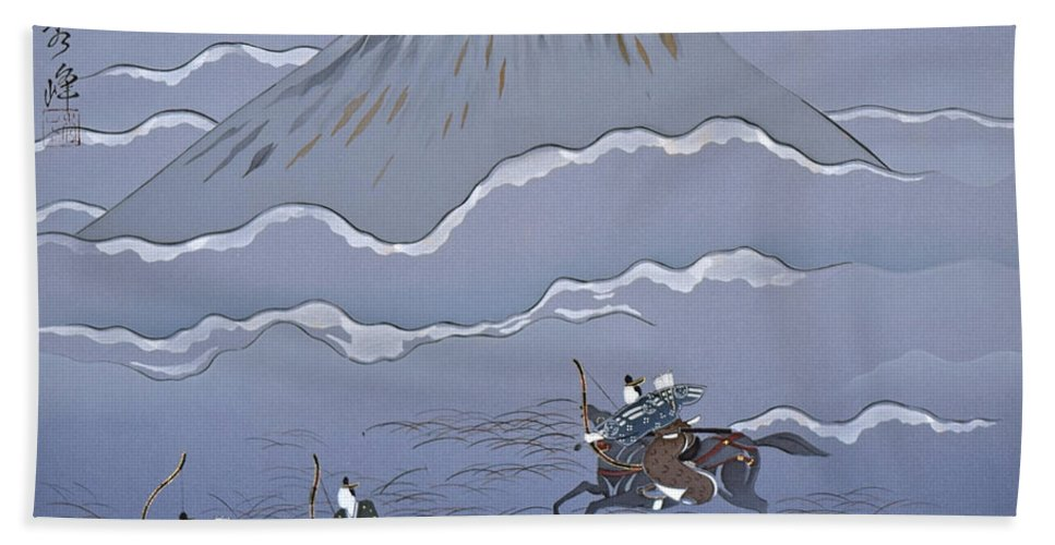 Beach Towel featuring the digital art Spirit of Japan M15 by Miho Kanamori