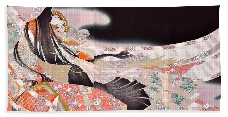 Beach Towel featuring the digital art Spirit of Japan T22 by Miho Kanamori