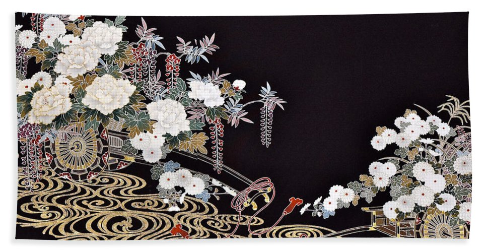Beach Towel featuring the digital art Spirit of Japan T40 by Miho Kanamori