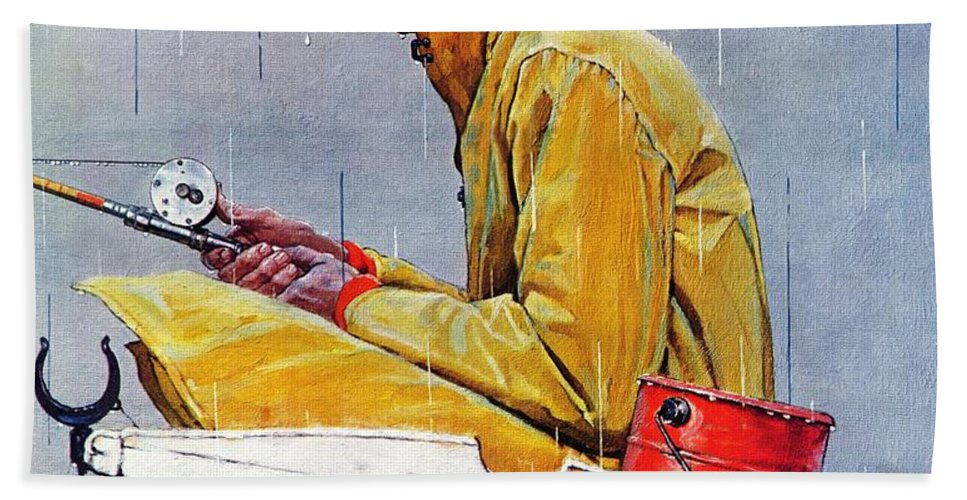 Fishing Beach Towel featuring the drawing Sport by Norman Rockwell