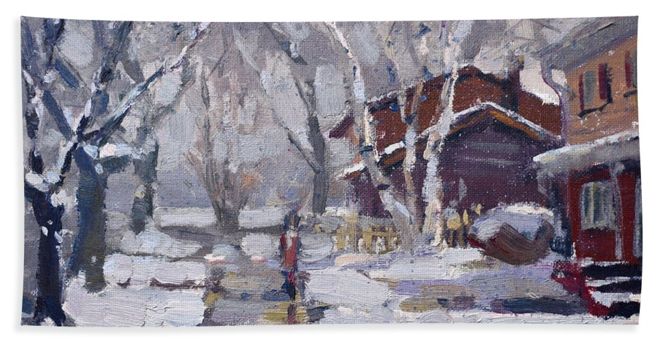 Snoe Beach Towel featuring the painting Spring Snow by Ylli Haruni