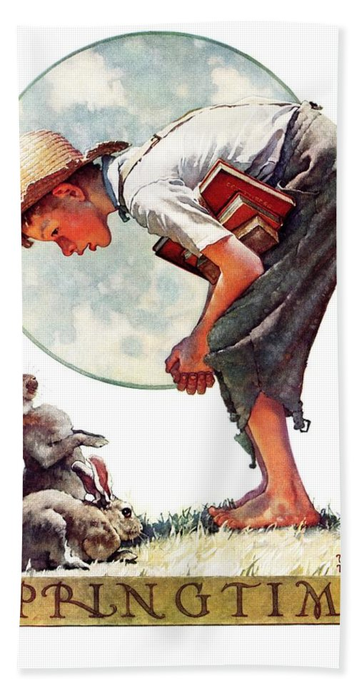 Books Beach Towel featuring the drawing springtime, 1935 Boy With Bunny by Norman Rockwell