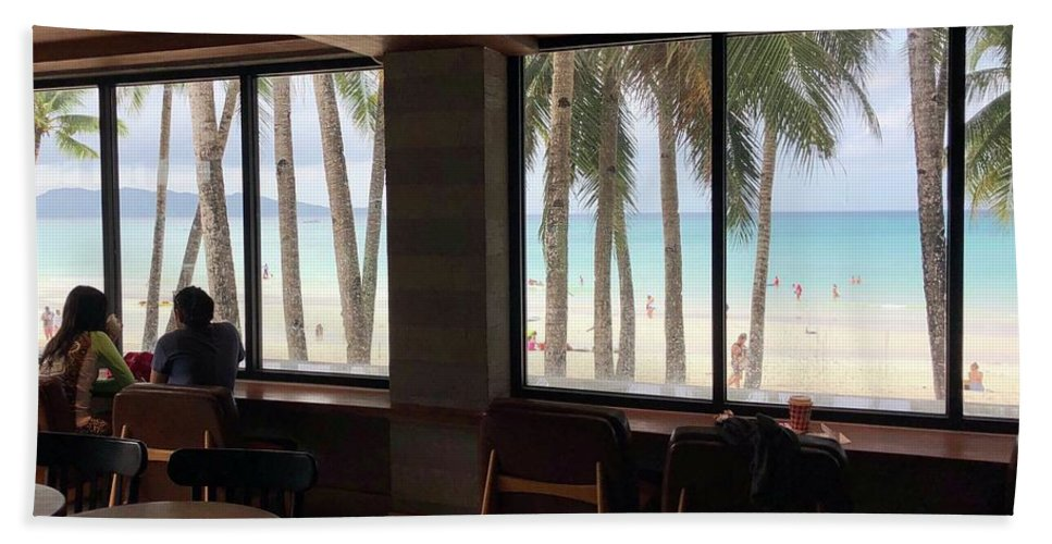 Coffee Beach Towel featuring the photograph Starbucks In Boracay Island by Nakayosisan Wld