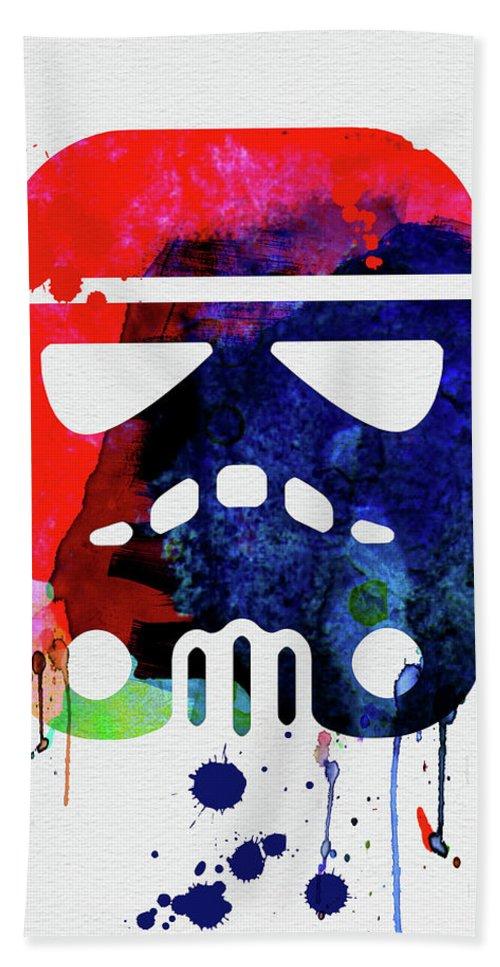 Starship Trooper Beach Towel featuring the mixed media Starship Trooper Watercolor Cartoon by Naxart Studio
