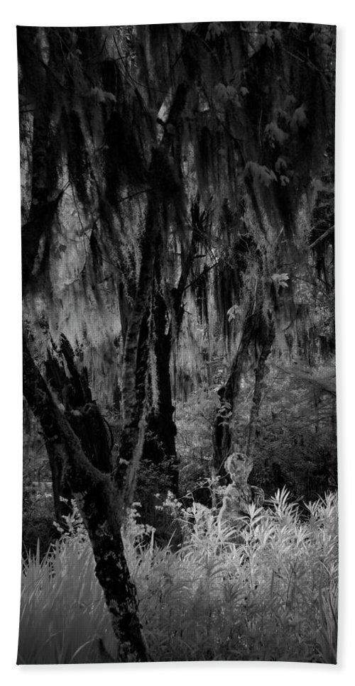 Black And White Beach Towel featuring the photograph Statue In The Grass by Jon Glaser