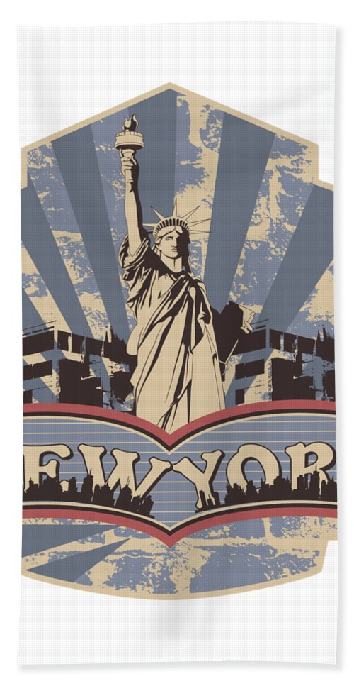 4th-of-july Beach Towel featuring the digital art Statue Of Liberty New York by Passion Loft