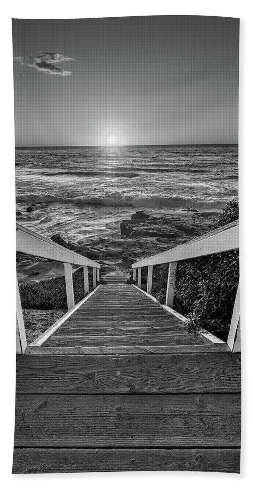 Beach Art Beach Towel featuring the photograph Steps To The Sun Black And White by Peter Tellone