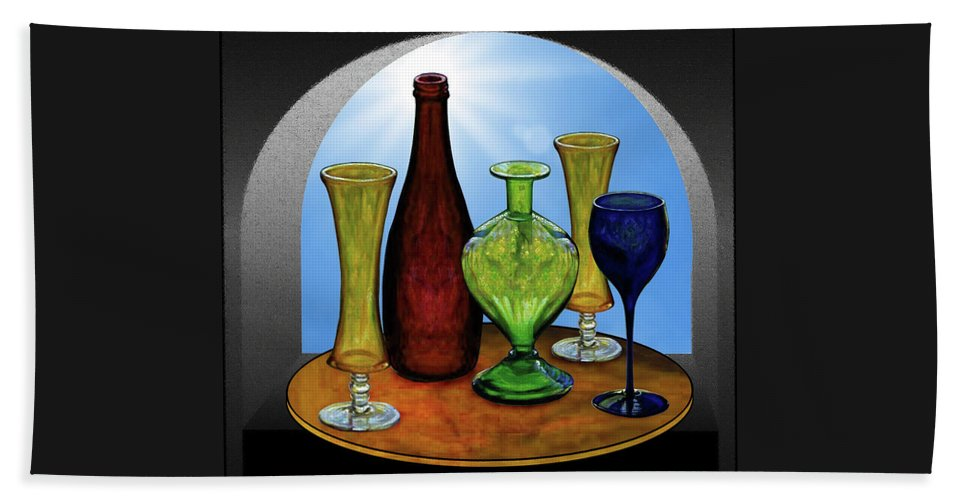 Still Life Beach Towel featuring the painting Still Life with Bottles by Hugo Heikenwaelder
