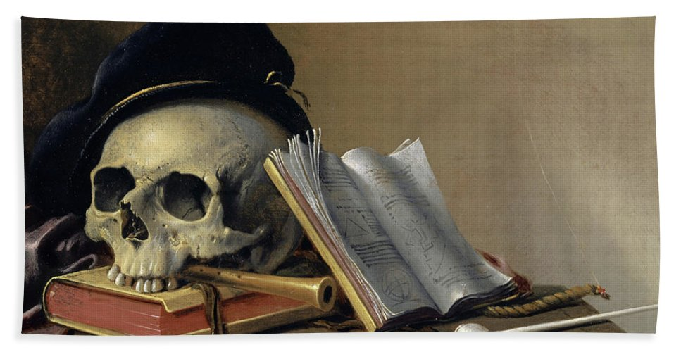 Harmen Steenwyck Beach Towel featuring the painting Still Life With Skull, Books, Flute And Pipe by Harmen Steenwyck
