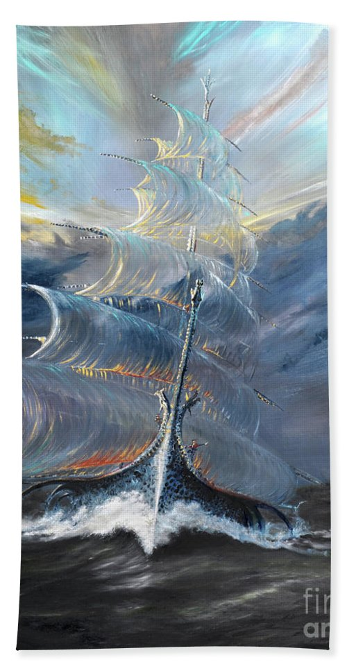 At Sea Beach Towel featuring the painting Storm Creators Beaufort Sea by Vincent Alexander Booth