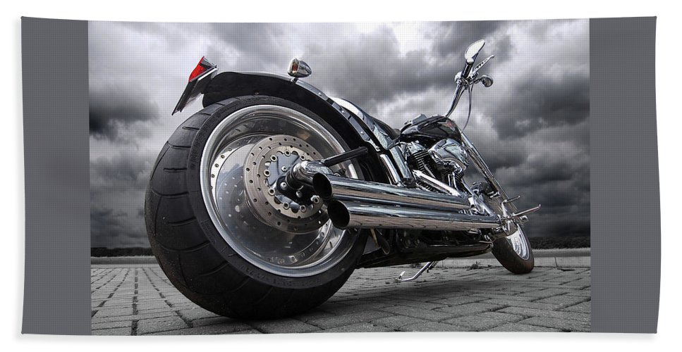 Harley Davidson Motorcycle Beach Towel featuring the photograph Storming Harley by Gill Billington