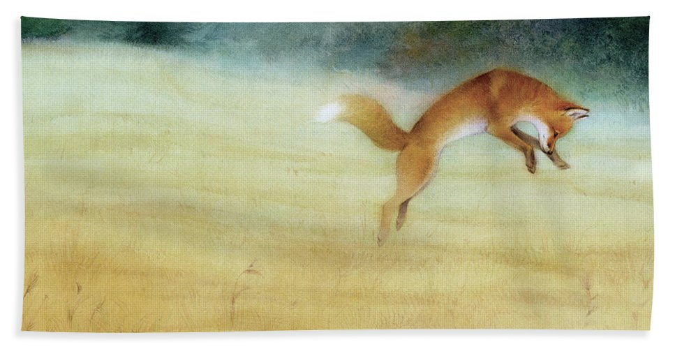Fox Beach Towel featuring the painting Summer Gold-fox by Tracy Herrmann