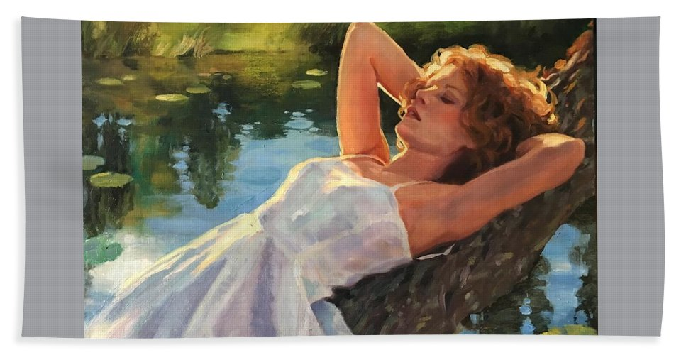 Water Beach Towel featuring the painting Summer Idyll by Jean Hildebrant