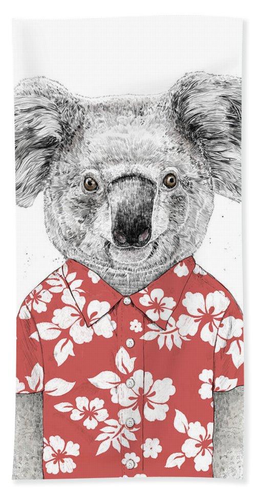 Koala Beach Towel featuring the drawing Summer Koala by Balazs Solti