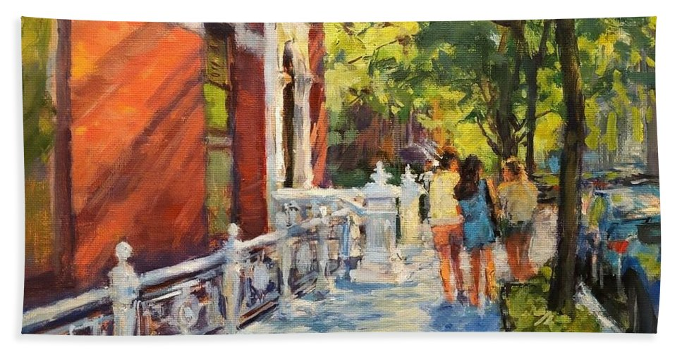 Beach Towel featuring the painting Summer Morning On West 82nd by Peter Salwen
