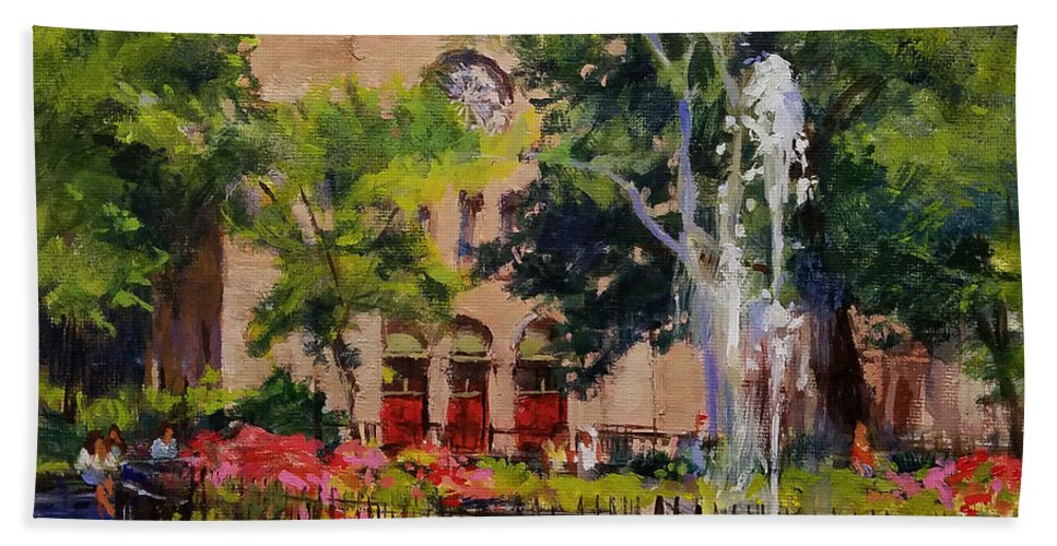 Urban Landscape Paintings Beach Towel featuring the painting Summer Morning, Stuyvesant Square by Peter Salwen