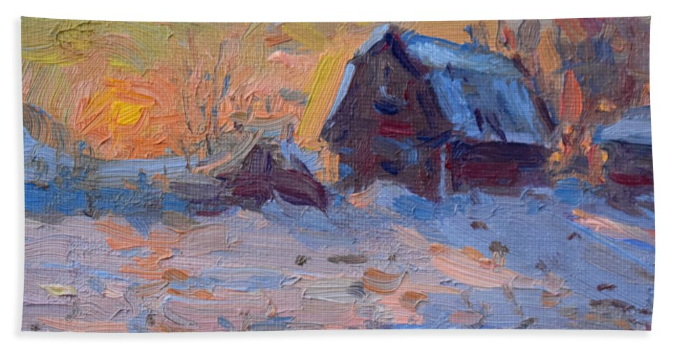 Sunset Beach Towel featuring the painting Sunset And Snow In The Farm by Ylli Haruni