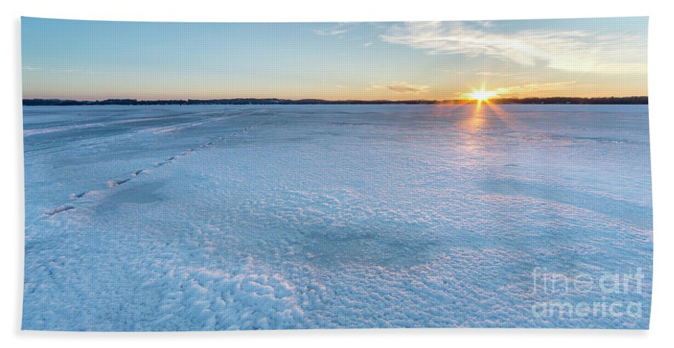 Bear Lake Beach Towel featuring the photograph Sunset On Ice In Bear Lake by Twenty Two North Photography