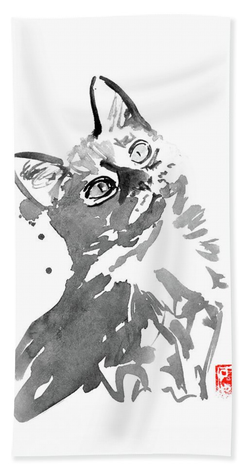 Cat Beach Towel featuring the painting Surprised Cat by Pechane Sumie