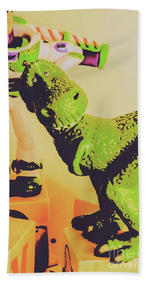 Dinosaur Beach Towel featuring the photograph T-rex Toy by Jorgo Photography - Wall Art Gallery