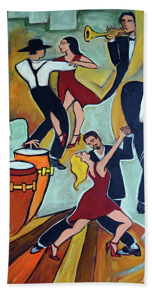 Tango Beach Towel featuring the painting Tango Terroso 1 by Valerie Vescovi