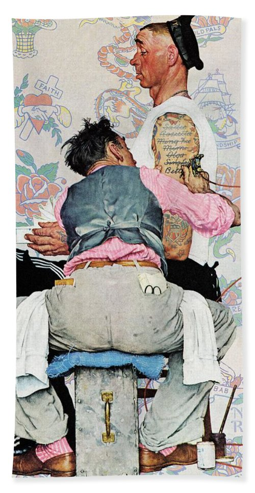 Arms Beach Towel featuring the drawing Tattoo Artist by Norman Rockwell