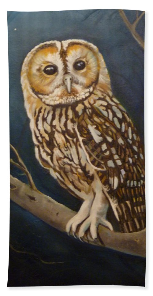 Owl Beach Sheet featuring the painting Tawny Owl by Janet Silkoff