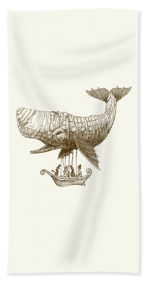 Whale Beach Towel featuring the drawing Tea at Two Thousand Feet by Eric Fan