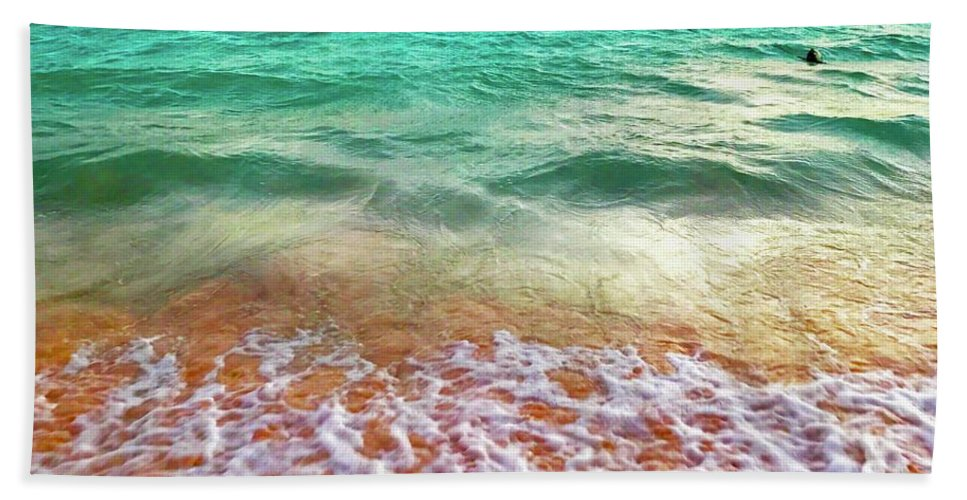 Beach Towel featuring the digital art Teal Shore by Cindy Greenstein