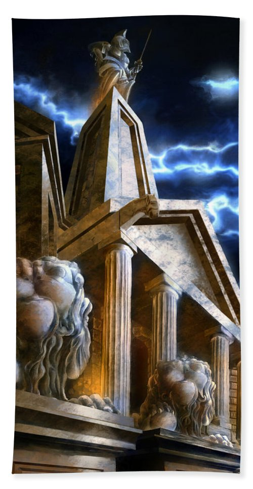 Hercules Beach Towel featuring the mixed media Temple Of Hercules In Kassel by Curtiss Shaffer
