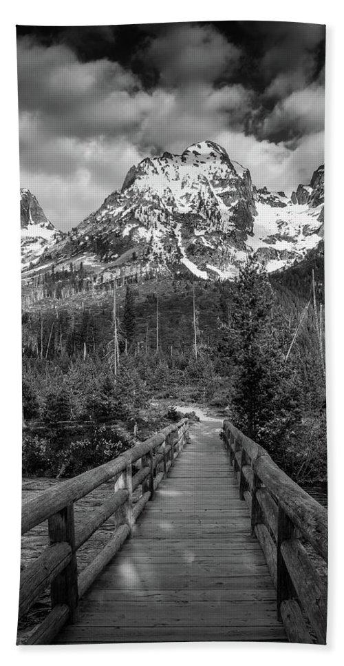 Black And White Bridge Beach Towel featuring the photograph Teton Mountain Bridge Black And White by Dan Sproul