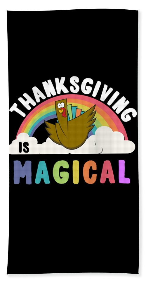 Unicorn Beach Towel featuring the digital art Thanksgiving Is Magical by Flippin Sweet Gear