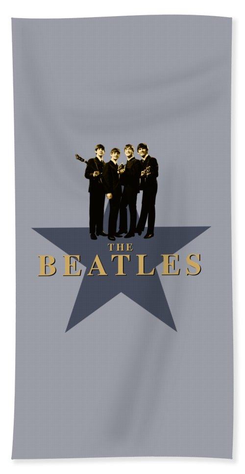 The Beatles Beach Towel featuring the digital art The Beatles - Signature by David Richardson