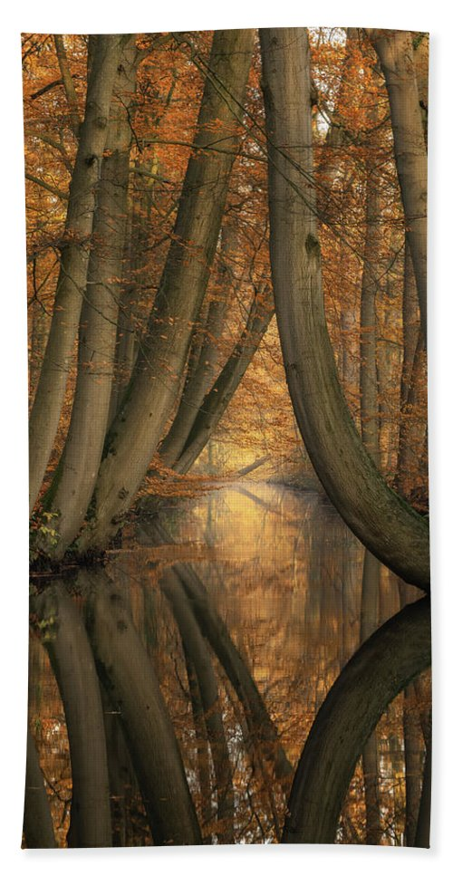 Trees Beach Towel featuring the photograph The Bent Ones by Martin Podt