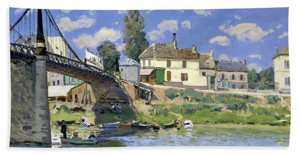 Alfred Sisley Beach Sheet featuring the painting The Bridge At Villeneuve-la-garenne - Digital Remastered Edition by Alfred Sisley