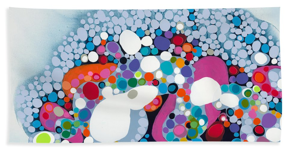 Abstract Beach Towel featuring the painting The Fantasy Of Reality by Claire Desjardins