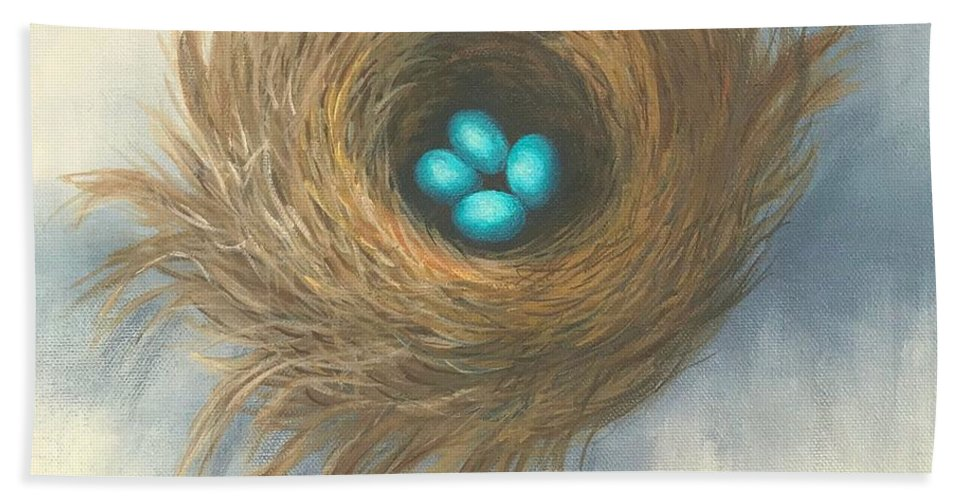Bird Beach Towel featuring the painting The Four Sisters by Torrie Smiley