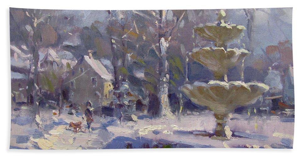 Frozen Fountain Beach Towel featuring the painting The Frozen Fountain by Ylli Haruni